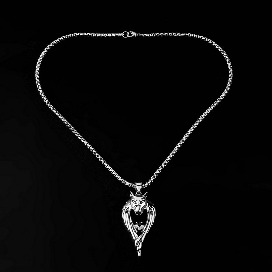 Exaggerated Silver Wolf Pendants with Chain Necklace Fashion Animal Jewelry #&