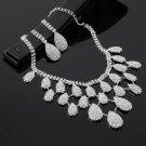 Women's Rhinestone Crystal Bib Necklace+ Earrings Sets Bride Jewelry Wedding #h