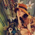 Women Ladies Fashion Korean Large Brim Suede Bow Bucket Hat Sunhat Cap Beach CA