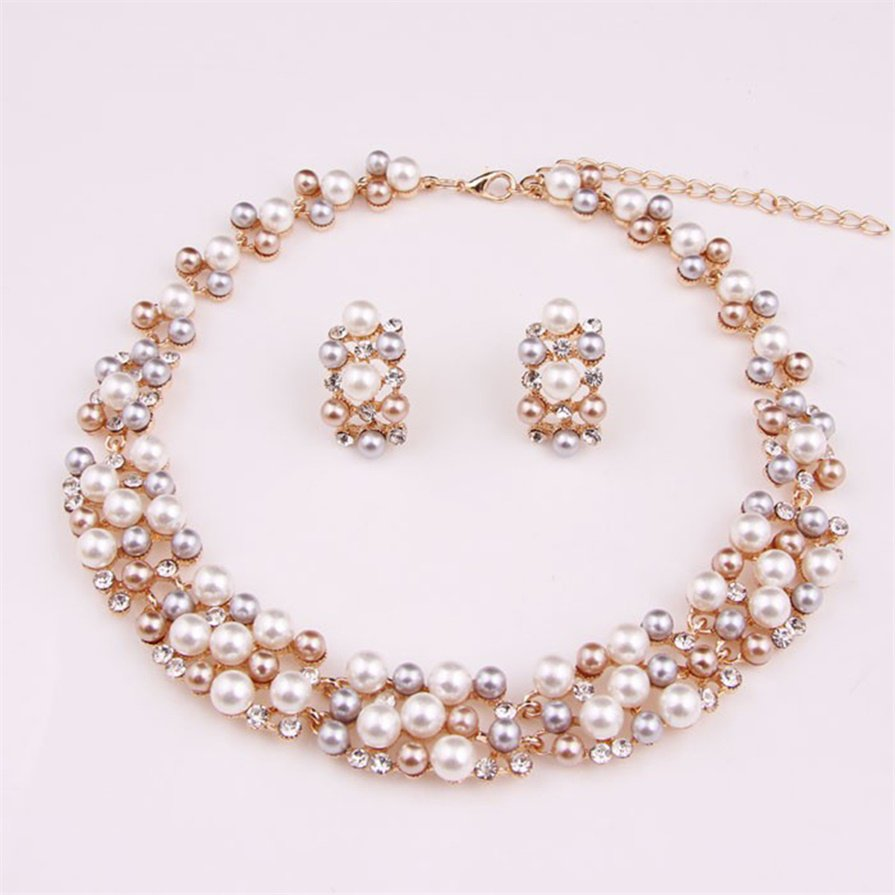 Imitation Pearl Gold Plated Simple Elegant Bridal Jewelry Sets Kit Gift #B