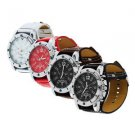Large dial Watch Face Wide Band Men Boy Wristwatch PU Leather Stainless Steel HS