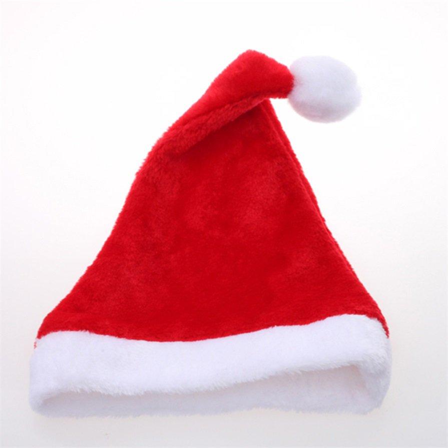 Christmas Cap Thick Ultra Soft Plush Santa Claus Holiday Fancy Dress Hat H5