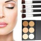 4 pcs Makeup Blush + 6 Colors' Contour Palette Brush Face Powder Cosmetic kit HS