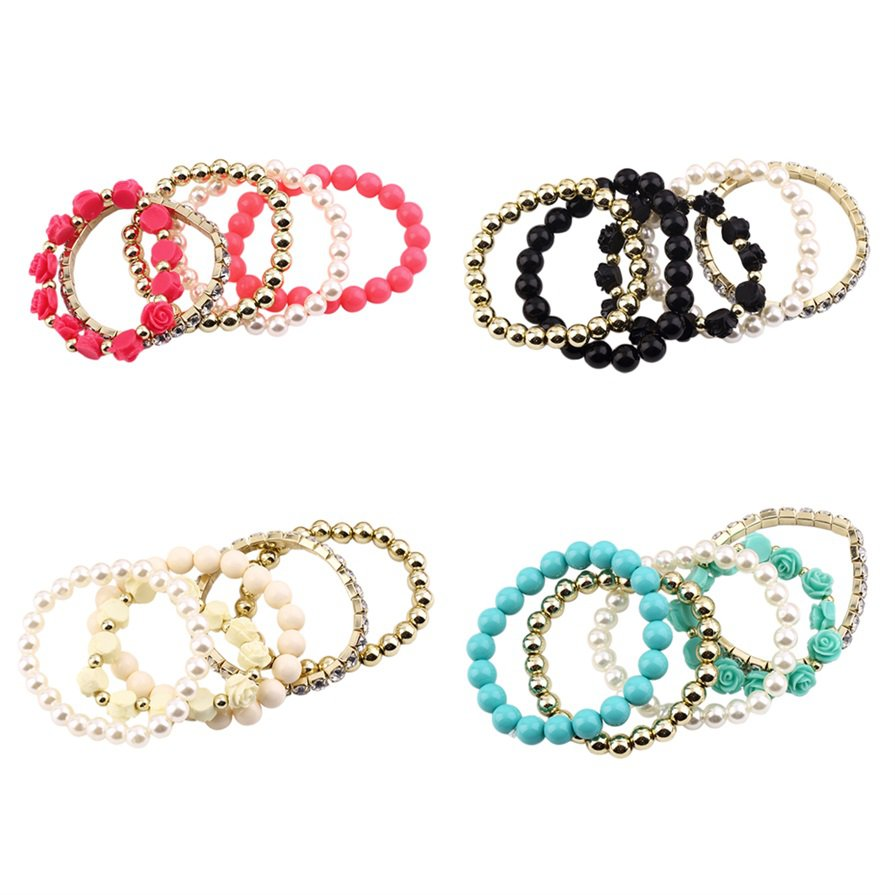 Multi-layer Rose Flower Beads Stretch Bracelet Resin Rhinestone Bangle #W