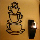 Three Coffee Cups Wall Sticker Art Home Decal Kitchen PVC Wall Decor New HS
