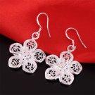 Women 925 Sterling Silver Vintage Flower Dangle Drop Hook Earrings Jewelry #*
