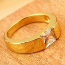 Unique 9K Real Gold Filled Top CZ Dusty Smooth Band Ring for Men Size8,9,10 HS