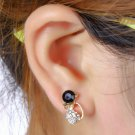 1 Pair Cute Cat Shape Women Lady Elegant Crystal Rhinestone Ear Stud Earrings HH