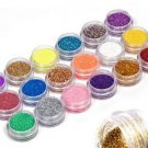 18 Colors Nail Art Glitter Powder Dust For UV GEL Acrylic Powder Decoration H2
