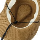 Men's Drawstring Collapsible Cowboy Hat Large Brim Straw Beach Panama Hat Cap @*
