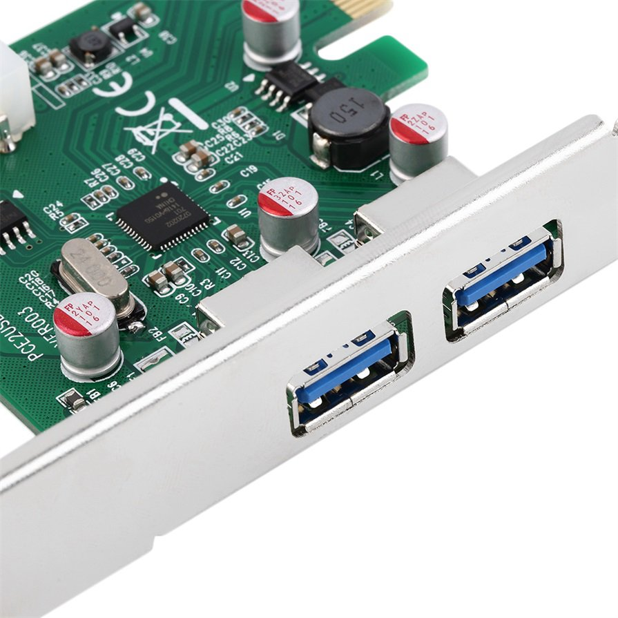 PCI-E PCI Express 2 port USB 3.0 Card Adapter w/ USB 3.0 Front Panel #S