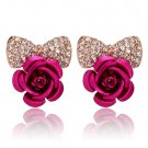 New Fashionable Stud Earrings Rhinestone Bow Jewelry Elegant Sweet Cute Rose #h