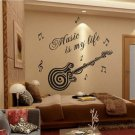 Music is my life Guitar Pattern Vinyl Decal Sticker Wall Decals Home Decor H5