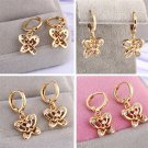 1 Pair Hollow Design Butterfly Shape Zircon Gold-plated Exquisite Earrings H5