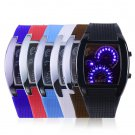 Mens Sports RPM Turbo Blue Flash LED Sports Car Meter Dial Watch Wristwatch HS