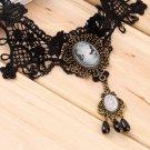 Vintage Lace Gemstone Queen Short Choker False Collar Necklace Chain Pendant HS