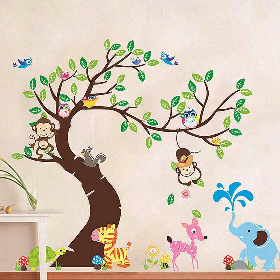 Cute Monkey Owl Animals Zoo Removable Kids Wall Sticker Decal Nursery Decor HS