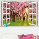 Romantic Cherry Trees 3D Simulation Window Scenery Removable Wall Stickers #A