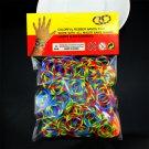 300PCS 8Clips 1 Loom Tie Dye Rainbow Rubber Bands Loom Refill DIY Bracelet H5