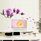 Magnolia Pattern Removable Wall Stickers for Bedroom Backdrop TV HS