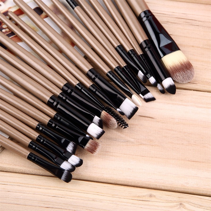 20 pcs Professional Makeup Beauty Cosmetic Blush Golden Brushes Kits #J
