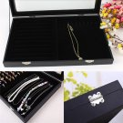 Glass Lid Ring Necklace Bracelet Jewellery Display Storage Box Tray Organiser #*