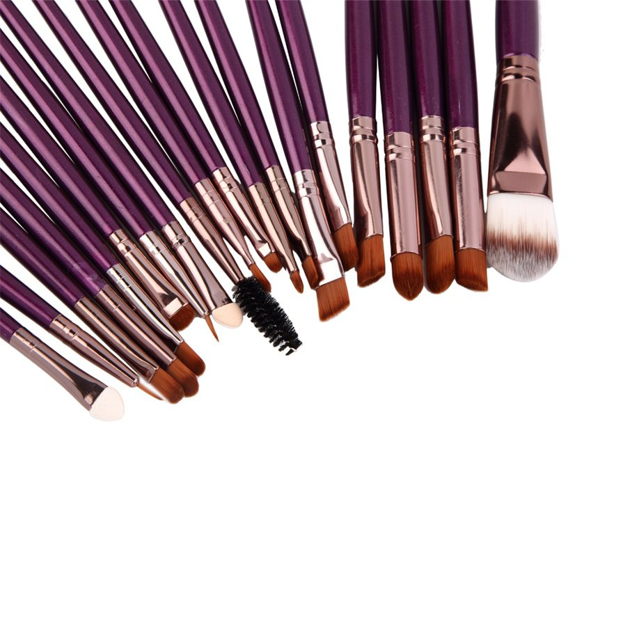 20 pcs Professional Makeup Cosmetic Blush Purple Brush with Coffee Hair #J