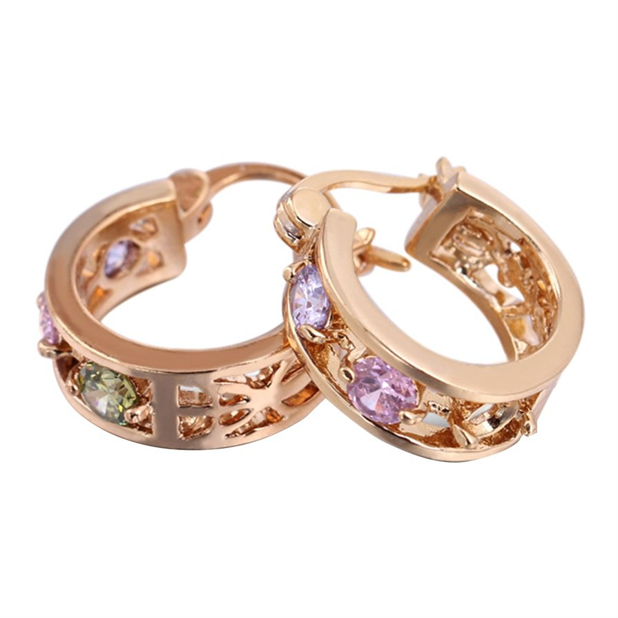 Korean Style 5mm Colorful Zircon Gold-plated Exquisite Earrings Ear Clip H5