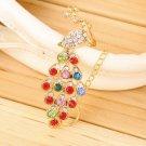 Luxury Colorful Crystal Rhinestone Peacock Design Bracelet Women Jewelry HH