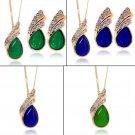 Luxury Women Alloy Opal Crystal Waterdrop Leaves Ear Studs Earrings Wedding #O