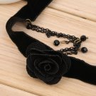 Retro Black Rose Flower Velvet Choker Necklace Collar Prom Jewelry Accessory HS