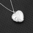 Stylish 925 Silver Plated Hollow Heart Locket Charm Pendant  Necklace Chain #h