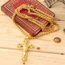 Unisex Gold Plated Jesus Christ Crucifix Cross and Chain Pendant Necklace HS