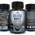 BEARD BOOST NATURAL FACIAL HAIR GROWTH HERBAL FORMULA GROW THICKER FULLER LONGER