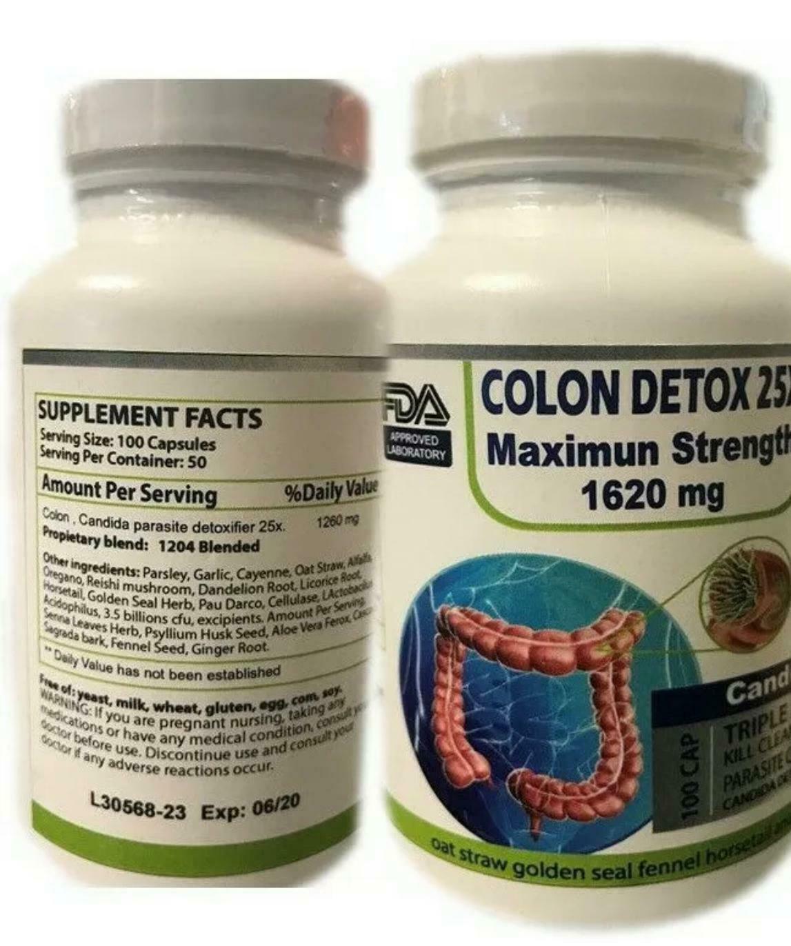 100 Detox Colon & Body Cleanse Maximum Strength Cleansing  Pills