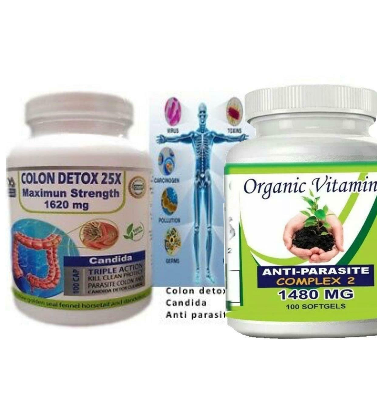 Candida Cleanse- Anti Parasite Complex 1620mg Boost Intestinal Health kit