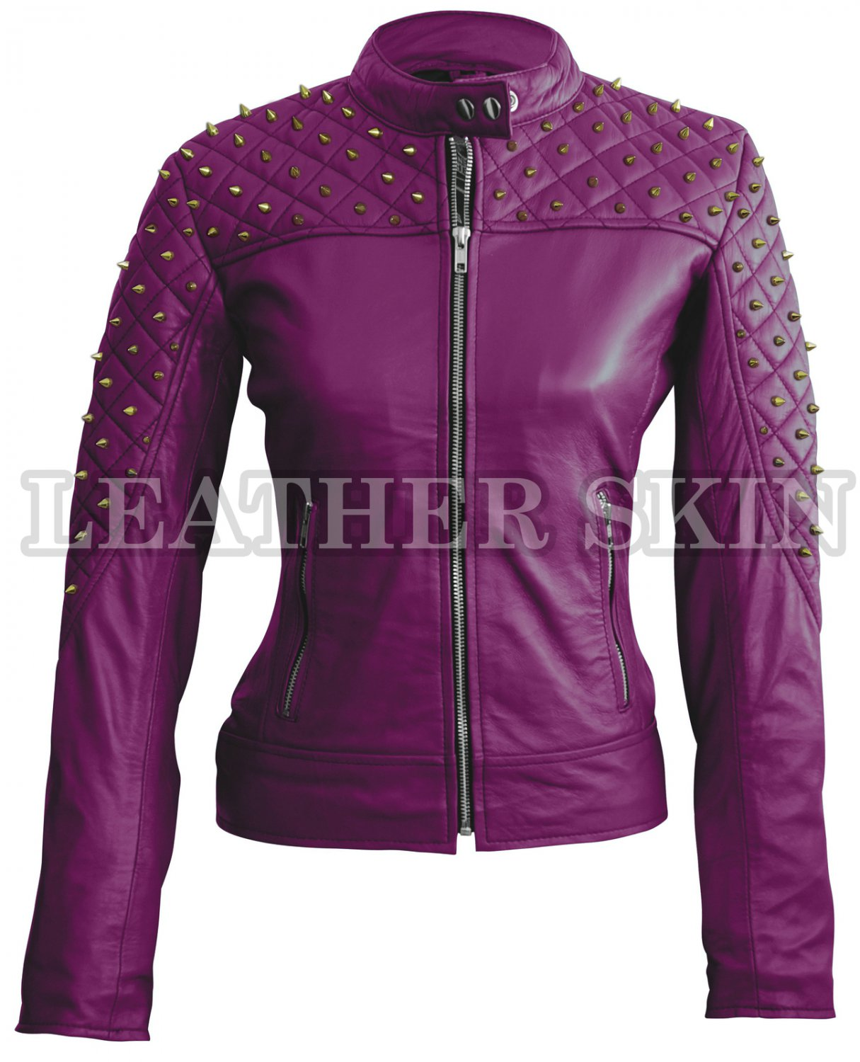 Women Purple Quilted Spike Gold Studded Leather Jacket
