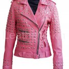 Women Pink Spike Studded Studs Leather Jacket