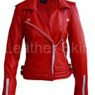 Women Red Brando White Zippers  Leather Jacket