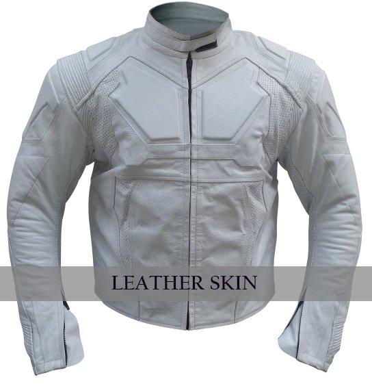 Leather Skin Men White Biker Motorcycle Leather Jacket