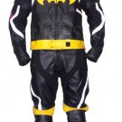 Batman Style Men Black Biker Motorcycle Leather Suit