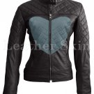 Women Love Black with Gray Heart Quilted Leather Jacket