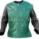 Women Green Collarless Black Sleeves Leather Jacket