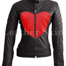 Women Love Black Red Heart Quilted Leather Jacket