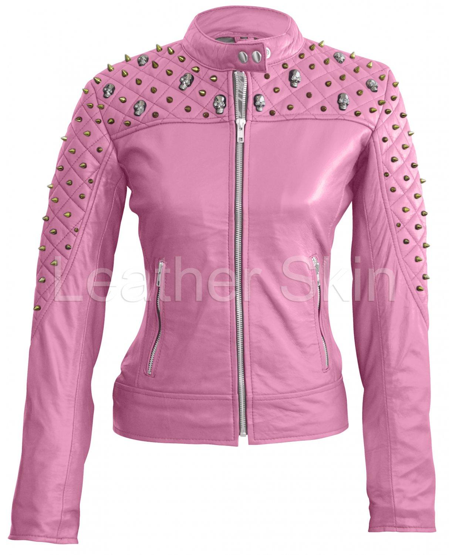 Women Pink Spike Skeleton Studs  Leather Jacket