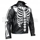 Men Black Skeleton Biker Motorcycle Leather Jacket