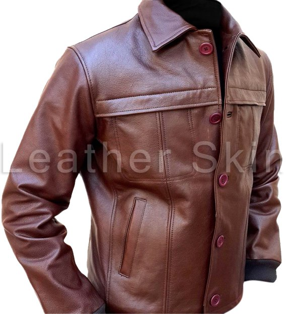 Men Brown Classic Biker Motorcycle Leather Jacket