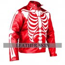Men Red Skeleton Biker Motorcycle Leather Jacket