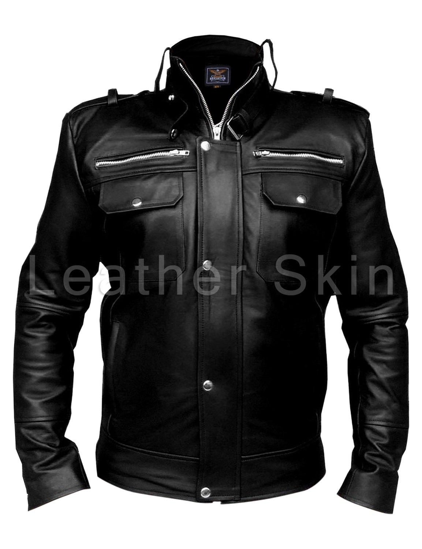 Men Black Leather Jacket with Front Pockets