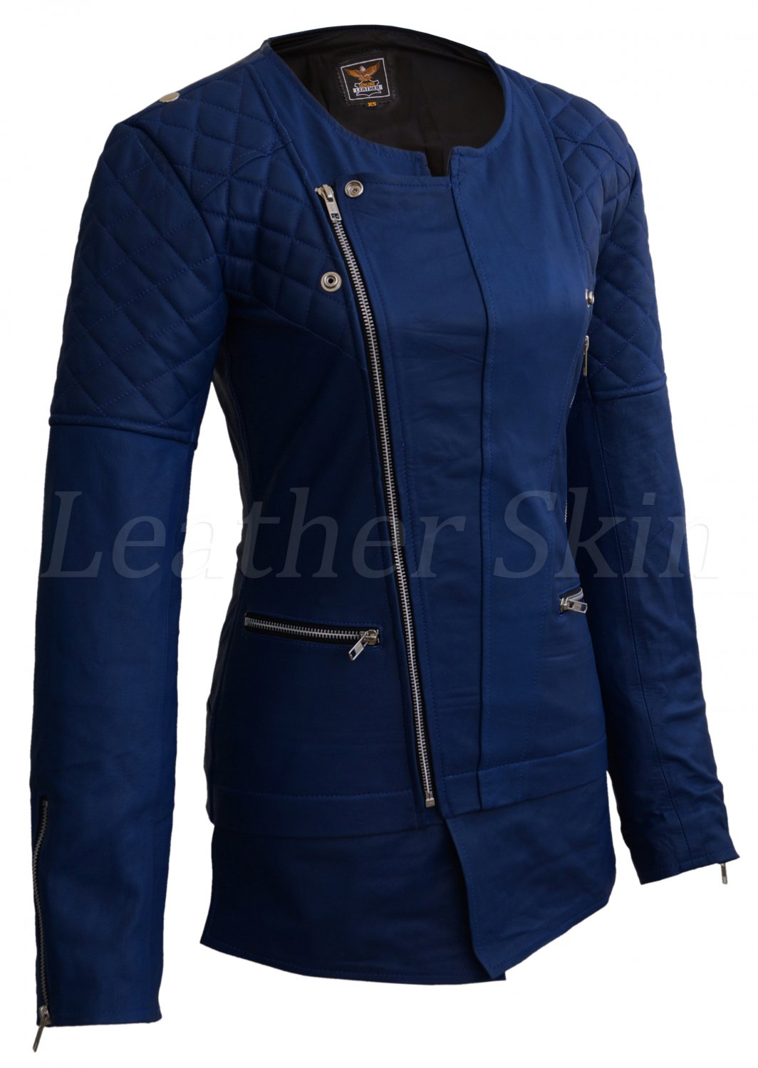 Women Blue Shoulder Quilted Collarless Leather Jacket